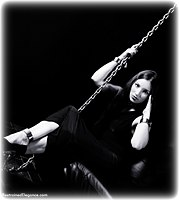Free bondage photo Sophia Landi ballgown, shackles, shoes, leg irons, chains, metal bondage, collar