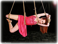 Free bondage photo Sophia Smith gown, rope bondage, barefoot, suspension