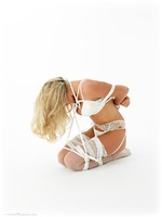 Free bondage photo Tillie rope bondage, blonde, lingerie, stockings, ungagged, frogtie