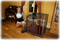 Free bondage photo Tillie ballgag, barefoot, blonde, self bondage, shackles, shoes, slave training, cage, sm factory, metal bondage, collar, nude, ungagged, uniform, pvc, riding crop