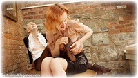 Free bondage photo Anita deBauch and Ariel Anderssen girlgirl, handcuffs, blonde, blouse, shoes, humiliation, business wear, lesbian, chains, metal bondage, tickle, tickling, pantyhose