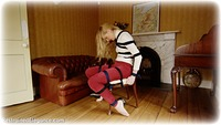 Free bondage photo Ariel Anderssen rope bondage, barefoot, blonde, shoes, sweater, tickle, ungagged
