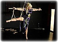 Free bondage photo Chanta Rose and Hannah barefoot, rope bondage, satin, chinese dress, suspension