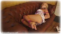 Free bondage photo Hannah Claydon ballgag, rope bondage, girlgirl, barefoot, satin, blonde, shoes, lesbian, dress