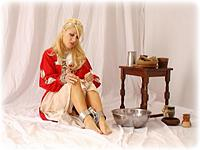 Free bondage photo Petra Morgan barefoot, gown, shackles, leg irons, chains, medieval, collar